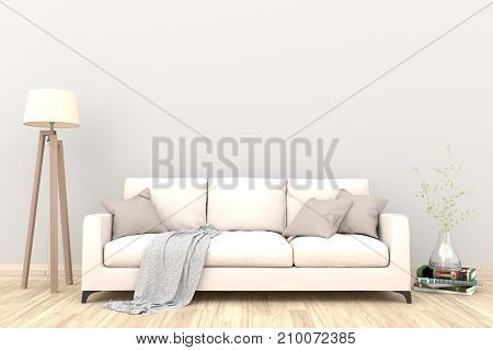 Minimal white living room interior with green fabric sofa, lamp, cabinet and plants on empty white wall background.3d rendering