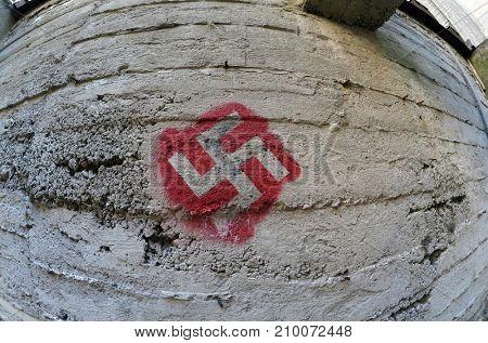 ILLUSTRATIVE EDITORIAL.Modern painting in the old military bunker.Kiev,Ukraine.October 18, 2017