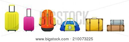 Travel luggage set for holidays, vacations and journey. Baggage, backpack, sport, bag, suitcase, colorful, stylish vector baggage illustration luggage