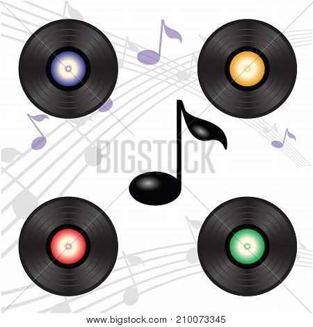 vinyl record collection on musical note background
