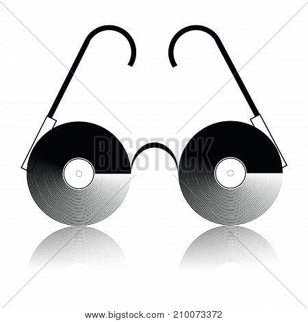 vinyl glasses icon isolated on white background