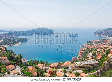 beautiful lanscape of mediterranean coast and turquiose water of cote dAzur at summer day, France