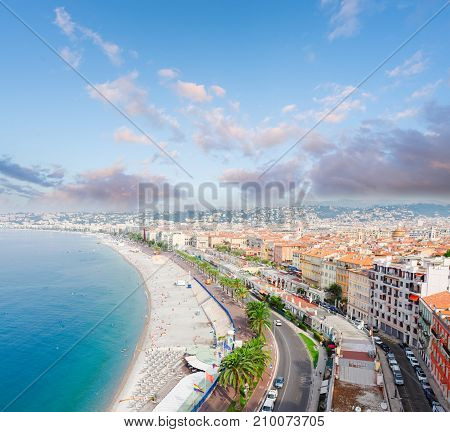 cityscape of Nice with beach and sea from above at sunrise, cote dAzur, France