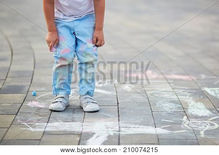 Closeup Of Little Boy's Pants Stained With Chalks