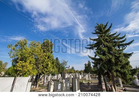 BELGRADE SERBIA - OCTOBER 2 2017: Graves and tombs in the Orthodox cemetry of Zemun northeast of Belgrade. Gardos tower can be seen in background
