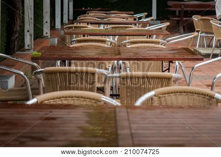Tables and chairs on a terrace from the restaurant