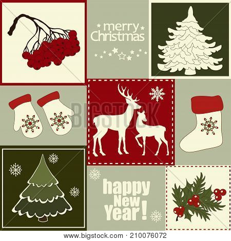 Card with set of Christmas elements .