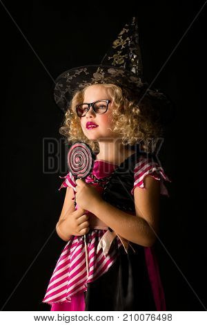 Attractive Girl In Witch Halloween Costume