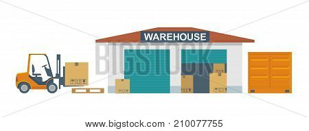 Flat banner production process in Warehouse. Vector illustration for business, info graphic, web, presentations, advertising.