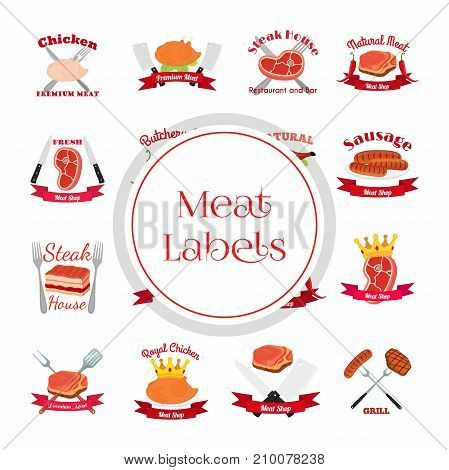 Meat, chicken, sausage labels pack - logo for market, shop, farm. Made in cartoon flat style. Vector illustration