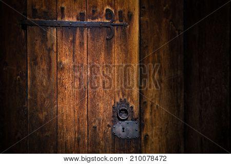 Old door of Church. Norway traditional village. Scandinavia Europe.
