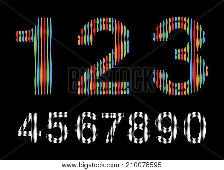 Arabic numerals set 1-10 on a black background