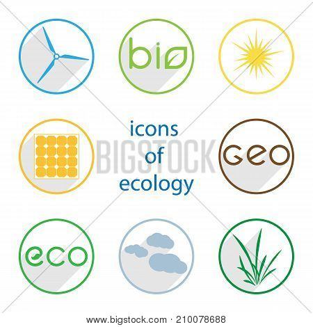 icons of ecology on a white background