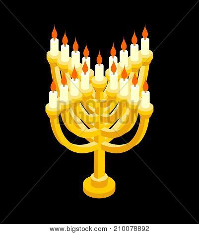 Menorah Isometry For Jewish Holiday. Traditional Religious Candelabrum. Israel Is Celebration. Vecto