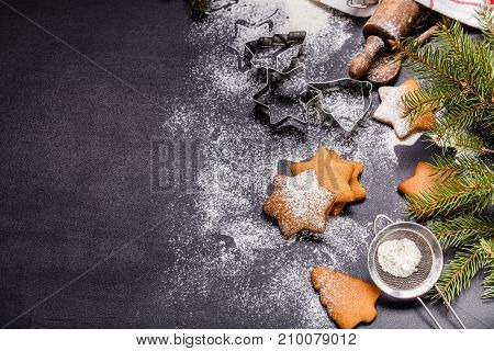 Christmas Ginger Cookies On A Black Background, Horizontal