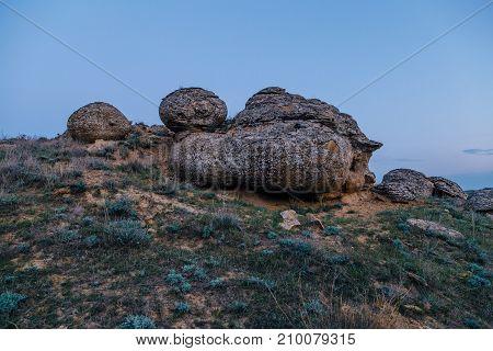 Beautiful round sandstone formation in rocky desert in western Kazakhstan