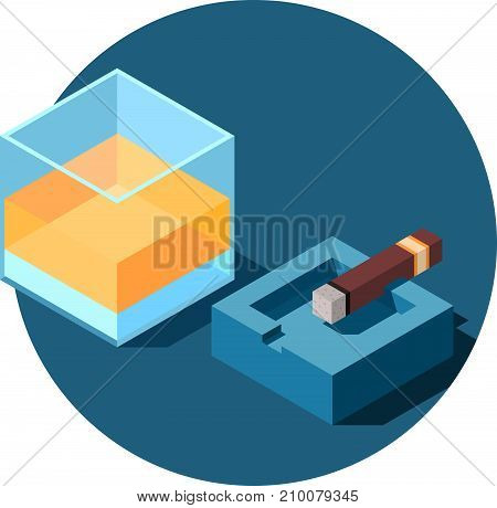 Isometric glass of alcohol and the cigar on the ashtray.