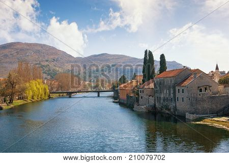 View of Trebisnjica river near Old Town of Trebinje. Bosnia and Herzegovina. Trebisnjica river is considered to be one of the largest sinking rivers in the world.