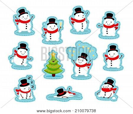 Snowmen Stickers. Funny emotional characters for the Christmas and New Year design. Humorous collection of Xmas. Vector illustration isolated on white background. Set