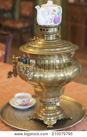 Ancient copper samovar for making tea Russia