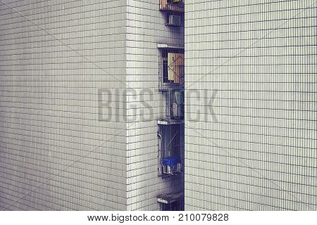 Old Apartment Building Tiled Wall, Urban Background.
