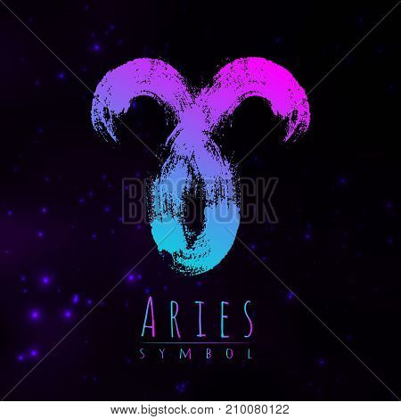 Vector abstract zodiac sign Aries on a dark cosmic background of the space with shining stars. Nebula in form of zodiac sign Aries. Abstract brush stroke sign. Bright modern gradient symbol. Logo.