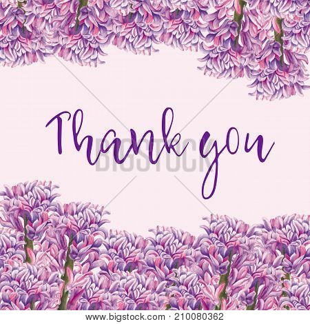 Greeting card Thank you. Botanical watercolor illustration of hyacinthus on pink background. Could be used as decoration for web design polygraphy or textile flower
