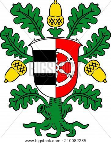 Coat of arms of Offenbach is a district in the south of Hesse Germany. Vector illustration