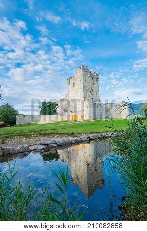 Irish castle ruins of Ross Castle on shore of Ross Lake Killarney National Park County Kerry