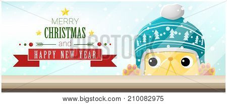 Merry Christmas and Happy New Year background with cat looking at empty table top , vector , illustration