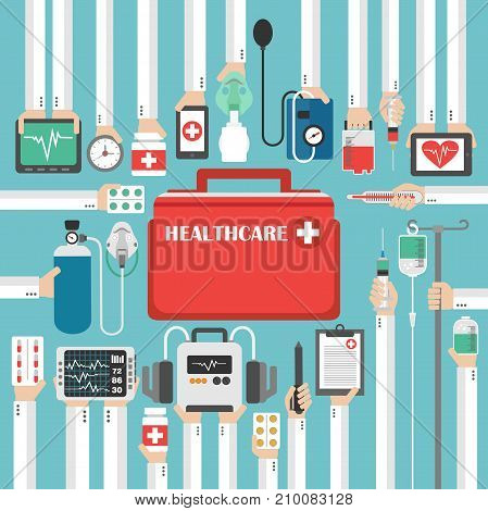 Healthcare flat set concept modern design.Vector illustration