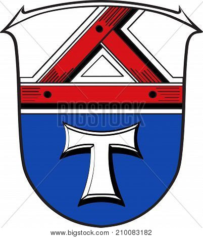 Coat of arms of Giessen is a district in the middle of Hessen Germany. Vector illustration