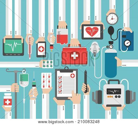 Medical report flat concept modern design.Vector illustration