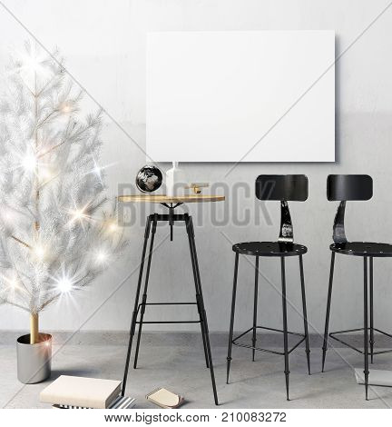 Modern Christmas loft bar interior consisting of a dining area. 3d illustration. Mock up poster