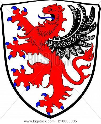 Coat of arms of Giessen is a town in Giessen is a district of Hessen Germany. Vector illustration