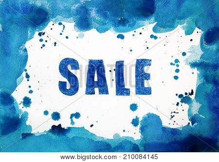 Winter sale on a background of bright blue watercolor frame on a white sheet of paper