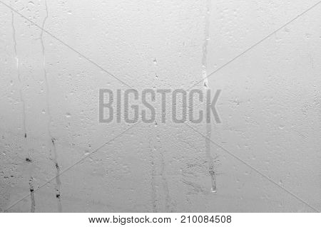 Natural Water Drop Background. Window Glass With Condensation High Humidity, Large Water Droplets
