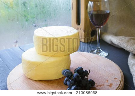 Homemade Caciotta Cheese On Wooden Board Rural Style