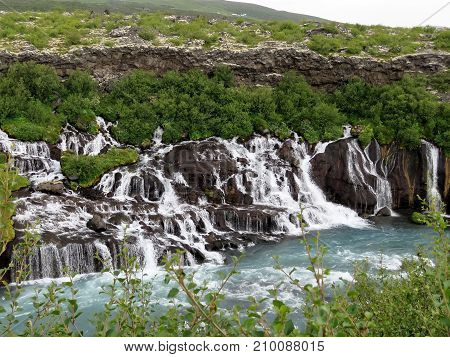 Barnafoss waterfall on the Hvita Riverl in western iceland July 2017