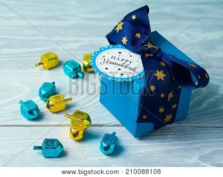 Hanukkah Celebration With Gift Box And Spinning Top