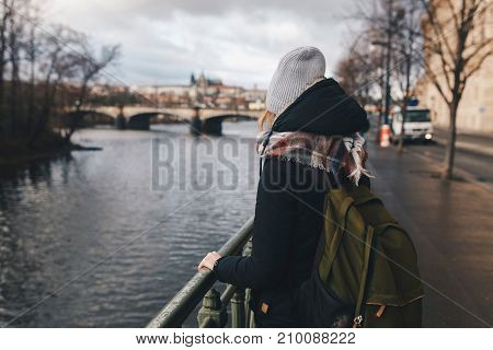 Tourist Standing Near Rivel In Europe City