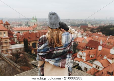 Girl Looking On Cityscape In Europe