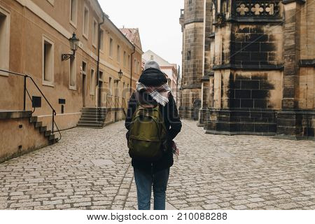 Travel Girl With Backpack Walking In Europe