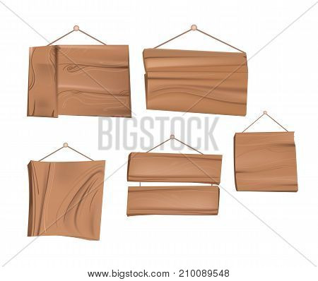 Set of wooden plaques in cartoon style. Wooden boards with rope hanging on a nail. Vector illustration