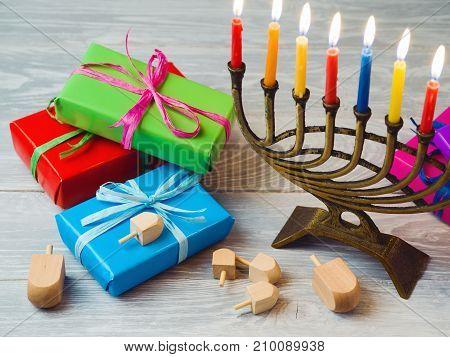 Hanukkah Celebration With Menorah And Gift Boxes