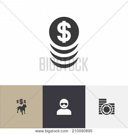 Set Of 4 Editable Game Icons. Includes Symbols Such As Stacked Money, Cash, Dog Fighting Bet And More