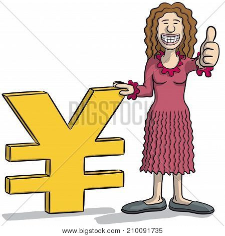 Woman With Yen Sign