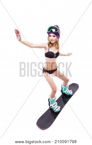 Young Pretty Woman In Black Bikini Ride Snowboard