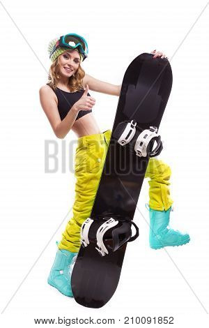 Happy Blonde Slim Woman With Snowboard