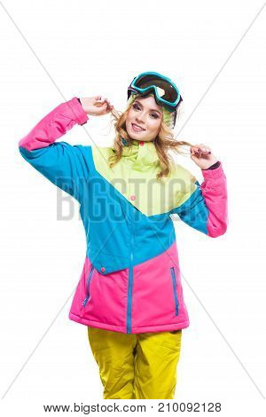 Woman In Snowboard Costume Holding Hair